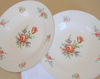 Two Antique Soup Bowls Homer Laughlin China Eggshell Georgian Pattern and Shape Pattern Discontinued in 50's