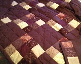 Handmade quilt -Deep plum 9'patch quilt