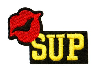 Free Shipping! Sup Lip Embroidered Iron-On Patch, Embroidery Applique