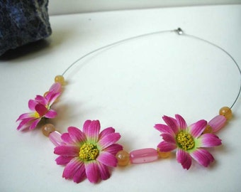 Flower Power Necklace - Pink Yellow Fabric Flowers - Three - Orange Tube Beads - Fashion Jewelry - Summer & Spring Necklace - Statement