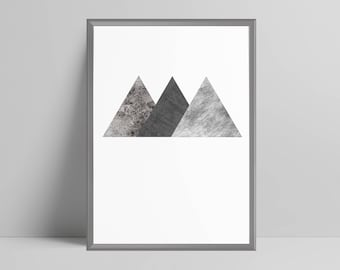 Geometric triangles print home decor minimalist abstract, scandi wall art