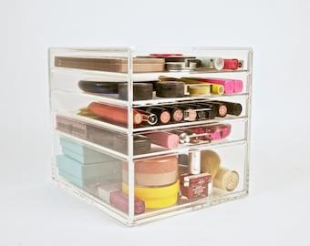 Acrylic Makeup Organizer 5 Drawer Beauty Cube