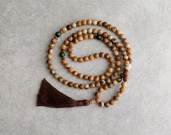 Picture Jasper Mala Beads with Agate - Earthy Jewelry - Balance & Harmony - 8mm Mala - Yoga - Mantra Beads - Mala Necklace - Item # 907