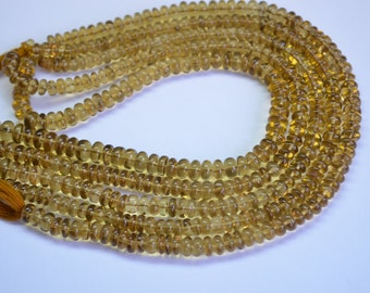 "10""-5-6mm-Amazing Rare-Vivid Champagne Quartz-Smooth Polished Roundelle Beads Strand-AAAA"