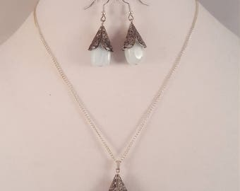 Aquamarine Nugget Necklace Set
