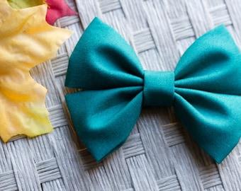 Everglade Solid Kona Fabric Hair Bow & Bow Tie