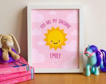 You are my sunshine personalised print - nursery prints - nursery decor - nursery wall art - kids bedroom prints - new baby - pink - A4 10x8