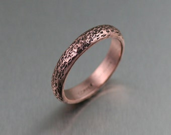 4mm Texturized Copper Band Ring - Rose Gold-Tone Engagement Ring - Copper Wedding Band Ring - Makes a Great 7th Wedding Anniversary Gift!