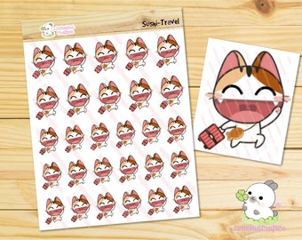 Travel / Luggage Sushi the Cat Emotions Planner Stickers