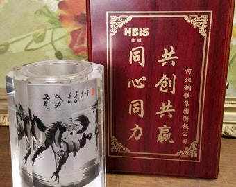 Chinese Brush Pot Hand Painted Cut Fine Art Glass Reverse Painting Running Horse Horse Steed Animal Thick Hbis China In Wood Box Characters