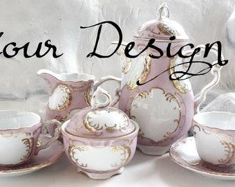 YOUR DESIGN! Custom Pink & Gold Tea Set, Personalized Tea Set, Custom Tea Set, Custom Teacup, Personalized Teacup, Tea Party, Custom China