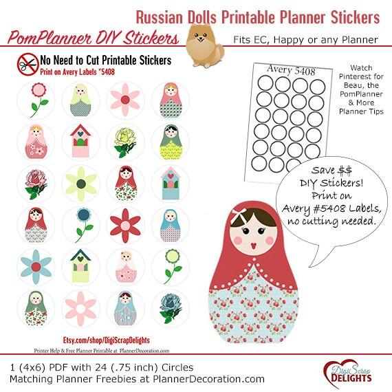 Russian Dolls Matryoshka Printable Planner Stickers Nested