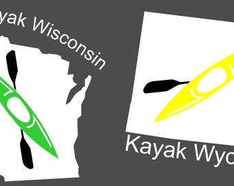 Kayak Decal - Wisconsin, Wyoming