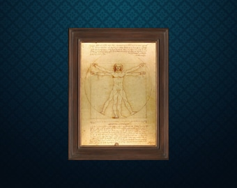 Vitruvian Man by Leonardo da Vinci - Science art - recovered image