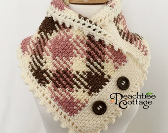 Crochet Plaid Neckwarmer, Planned Pooling Cowl, Crochet Cowl, Crochet Scarf, Argyle Scarf, Plaid Scarf, Boston Harbor Cowl - Ready to Ship
