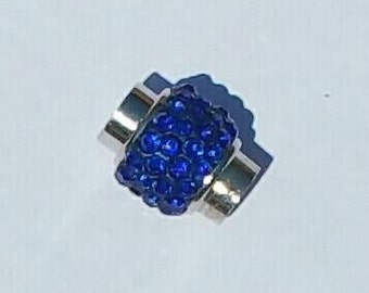 Magnetic Clasp - Kumihimo - Platinum plated brass - Sapphire - Polymer clay with Rhinestones - 18 x 13 mm - 7 mm hole
