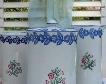 Storage jar or container, vintage sponge ware Laura Ashley