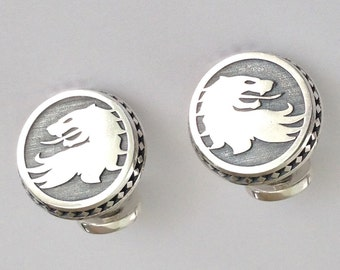 Unique Angeline Quinn Oxidised Sterling Silver Lion Head Cuff-Links