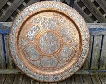 Middle Eastern Very Large Tinned Copper Tray. Signed Rajab Ali Hafez Parast.