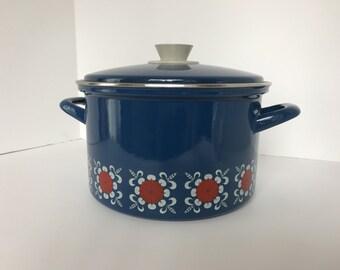 Retro Blue Enamel Pot