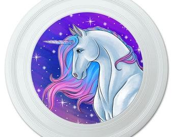 "Majestic unicorn pink purple blue novelty 9"" flying disc"