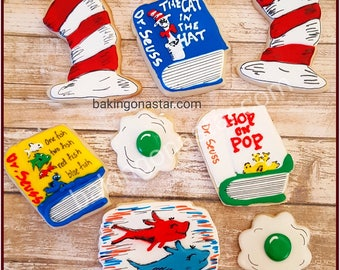 12 Dr. Seuss cat in the hat sugar cookies