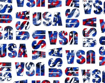 USA Patriotic Words White Cotton Windham Fabrics #5485 By the Yard