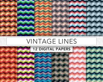 Stripe digital paper,vintage lines digital paper,lines paper,chevron digital paper,chevron pattern,Zig Zag digital paper  - R0014
