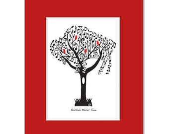 Music Buffalo Tree with Red Birds - Red Matt