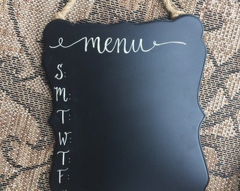 Chalkboard Menu - Kitchen Menu - Weekly Menu - Kitchen Decor - Meal Planning - Meal Prep - Calligraphy Menu Board - Dinner Menu