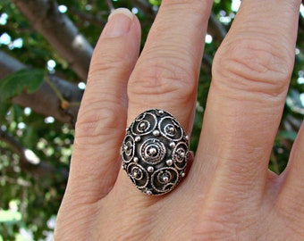 70% OFF Going Out of Business Sale.. Last One...Silver Button Ring- Sterling Silver Ring Size 7