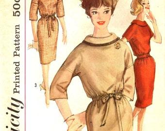 Simplicity 4070  DROPPED SHOULDER Slim Dress Bust 36 Vintage 1960s