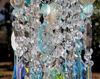 Sold - Antique Crystal Wind Chime, Pale Aqua Crystal Wind Chime, Flowers Wind Chime, Crystal Art, Garden Art, Garden Decor, Aqua Wind Chime