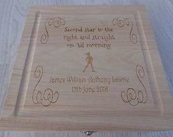 Personalised Engraved Wooden Box - Peter Pan Second Star to the Right - GIFT
