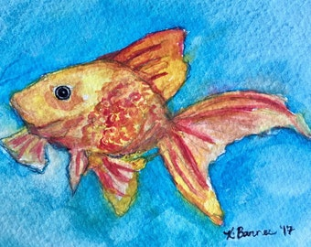 Goldfish watercolor print, goldfish painting, nursery wall decor, whimsical wall art, art print, nautical decor, nautical nursery, fish art