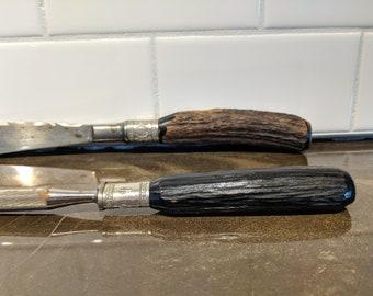 Vintage Lamson & Goodnow Carving Knife and Sharpener set Antler Handle
