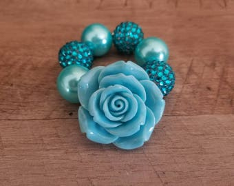 Aqua Chunky Bracelet, Turquoise Chunky Bracelet, Baby Bracelet, Blue Chunky Necklace, Birthday, Cake Smash Bracelet, Photo Prop