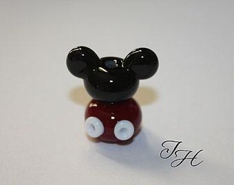 Mouse Ears  Polkadots Focal Handmade glass lampwork beads set by TH