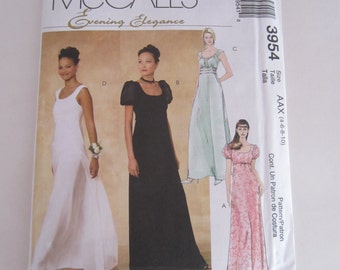 McCalls 3954 Evening Elegance Sewing Pattern Size 4-6-8-19 Uncut, Evening gowns bridal gown sewing pattern, Bridal gown sewing pattern