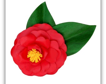 Red Camellia Japonica Brooch
