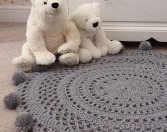 Pom Pom Rug, Gray Rug, Nursery Rug, Circle Rug, Nursery Decor, Crochet Rug, Round Rug, Bedroom Rug, Ready to Ship, Baby Shower Gift