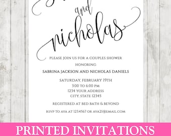 Custom PRINTED Simple Elegant Couples Shower, Wedding Shower Invitations - .99 each with envelopes included