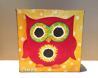 Red Sunflowe Eyed Owl, acrylic painting, 6x6 inch, whimsical art