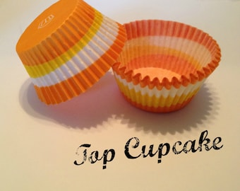 Orange Yellow and White Striped Cupcake Liners