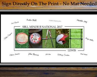Baseball Coach Gift - Personal Thank You Gift Idea - Coach Sign - Baseball Coach Signing Print – Gift From Team - Keepsake - Memento