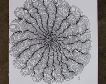 Squiggle Flower drawing 2016- black and white illustration- line drawing-