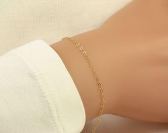 Dainty Bracelet, Chain Bracelet, Delicate Bracelet, Plain Chain Thin Layering Bracelet, 14k Gold Fill, Sterling Silver