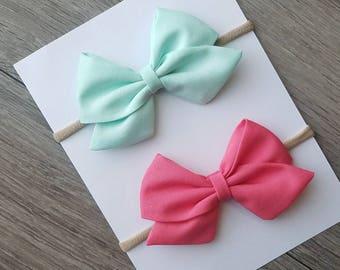 2 pack mint sailor bow, coral sailor bow, big sailor bow, pack of 2, mint fabric bow, coral fabric bow
