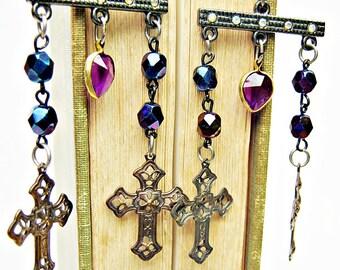 Peacock Blue Earrings, Chandelier Earrings, Iris Blue, Antique Brass Cross, Rhinestones, Purple, Heart, Bohemian Earrings, Handmade