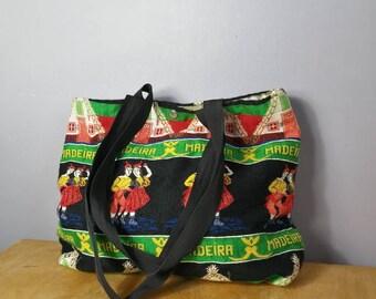 Vintage folk tote bag / black fabric tote bag / vintage souvenir bag / maderia / folk art bag / retro large shoulder bag
